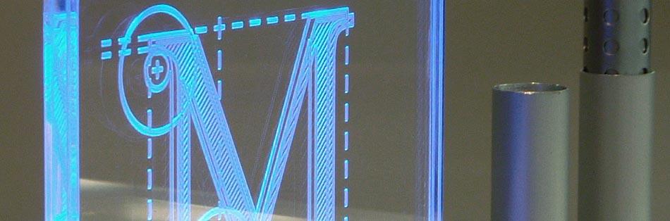 Acrylglas graviert beleuchtet